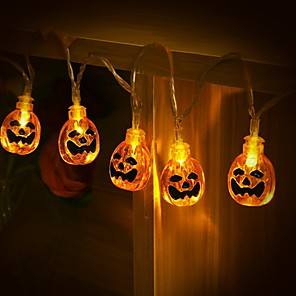 cheap LED String Lights-1.5M 10LEDs Halloween Pumpkin String Lights Battery Operated Carnival Ghost Festival Party Garden Holiday Decoration Light No Battery Delivery