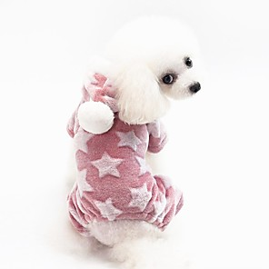 cheap Dog Clothes-Dog Coat Pajamas Stars Casual / Daily Cute Casual / Daily Winter Dog Clothes Warm Blue Pink Green Costume Fleece Cotton S M L XL XXL