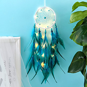 cheap LED String Lights-Dream Catcher LED Feather Night Light Handmade Dream Catcher Ornaments Home Room Valentine's Day Decoration Birthday Gift
