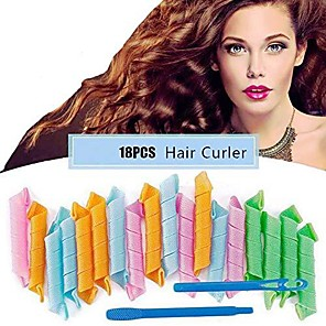 cheap Hair Dryers-magic hair curlers spiral curls styling kit, 18 pcs no heat hair rollers and 1 styling hooks, for long hair up to 30 cm (multi-colored)