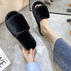cheap Women's Sandals-Women's Slippers & Flip-Flops Flat Heel Open Toe Casual Home Solid Colored Faux Fur Black / Pink / Gray