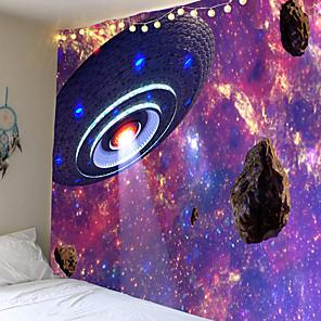 baratos Papel de Parede-meteorito espacial disco voador tapeçaria tapeçaria arte retangular impressão digital tapeçaria 100% poliéster tapete de viagem tapete de praia tapete de ioga