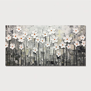cheap Floral/Botanical Paintings-Oil Painting Paint Handmade Abstract White Flowers Canvas Art Modern Art with Stretcher Ready to Hang With Stretched Frame