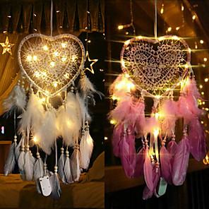 cheap Dreamcatcher-Fancy Dream Catcher With LED String Hollow Hoop Heart Shape Pendant Feathers Handmade Night Light Wall Hanging Home Decor Gift