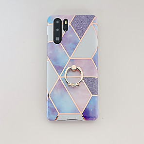 cheap Huawei Case-Case For Huawei P20 P20 Pro P20 Lite Nova 3e Mate 20 Mate 20 Lite Mate 20 Pro P30 P30 Pro P30 Lite Nova 4e Plating Ring Holder Pattern Back Cover Marble TPU