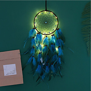 cheap LED String Lights-Dream Catcher LED Feather Night Light Handmade Wind Chime Ornaments Holiday Decoration Valentine's Day Birthday Gift