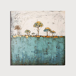cheap Abstract Paintings-Hand Painted Canvas Oilpainting Square Abstract Landscape Home Decoration with Frame Painting Ready to Hang With Stretched Frame