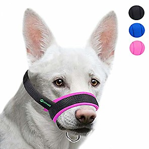 cheap Dog Collars, Harnesses & Leashes-dog muzzle with fabric for small, medium and large dogs, anti biting, chewing, adjustable neck, breathable(pink)