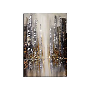 cheap Abstract Paintings-2020 New Handmade Abstract City and People Oil Painting Canvas Wall Art Paint Home Decor Home Decoration Wall No Frame Rolled Without Frame