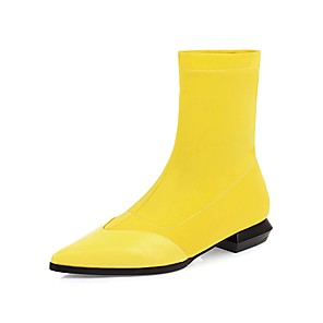 cheap Car Headlights-Women's Boots Cuban Heel Pointed Toe Classic Preppy Daily Party & Evening Solid Colored PU Booties / Ankle Boots Wine / Black / Yellow