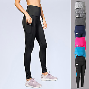 cheap Running Bags-YUERLIAN Women's High Waist Running Tights Leggings Compression Pants Athletic Base Layer Bottoms with Phone Pocket Spandex Fitness Gym Workout Performance Running Training Tummy Control Butt Lift