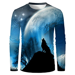 cheap LED Bi-pin Lights-Men's T-shirt Graphic Print Long Sleeve Tops Basic Round Neck Blue