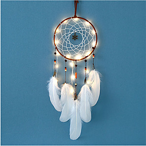 cheap Dreamcatcher-Creative Retro Dream Catcher LED Feather Night Light Handmade Feather Ornaments Home Room Decoration Valentine's Day Birthday Gift