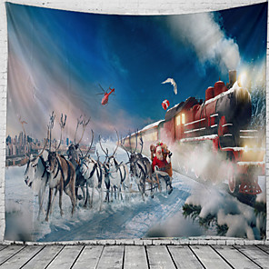cheap Oil Paintings-Christmas Weihnachten Santa Claus Wall Tapestry Art Decor Blanket Curtain Picnic Tablecloth Hanging Home Bedroom Living Room Dorm Decoration Elk Train Snow Polyester