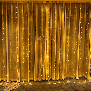 cheap LED String Lights-3*3 m String Lights Remote Controls 300 LEDs 1 set Cold White Warm Yellow Christmas New Year's Curtain String Lights 5 V