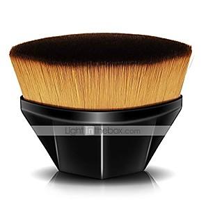cheap Foundation Brushes-foundation brush for liquid makeup, flat kabuki hexagon face blush brush for blending liquid, cream or flawless powder cosmetics with bonus protective case (black)