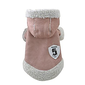 cheap Dog Clothes-pet clothes, winter warm coat chien dog pajamas pet clothes clothing small puppy hoodie coat cotton-padded jacket custome apparel (khaki)