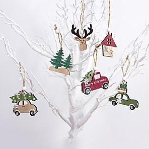 voordelige Kerstdecoraties-kerstversiering 6 stuks houten elanden hanger boom opknoping ornamenten kerst ambachten decoraties