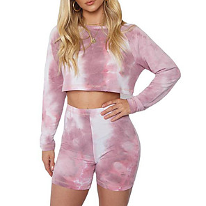 cheap Dog Clothes-Women's Sweatsuit Workout Shirt Sweatshirt 2 Piece Set Sports Shorts Sweatshorts Tie Dye Loose Fit Crop Top Crew Neck Tie Dye Cute Sport Athleisure Sweatshirt and Pants Outfits Long Sleeve Warm Soft