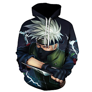 cheap Anime Costumes-Inspired by Naruto Cosplay Costume Hoodie Polyster Print Printing Hoodie For Men's / Women's
