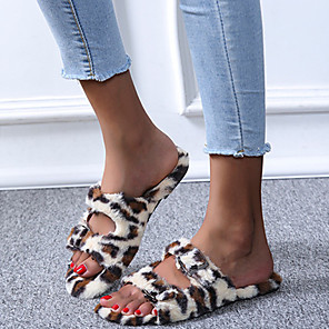 cheap Necklaces-Women's Sandals Block Heel Open Toe Casual Daily Leopard Nubuck Leopard / Black / Khaki
