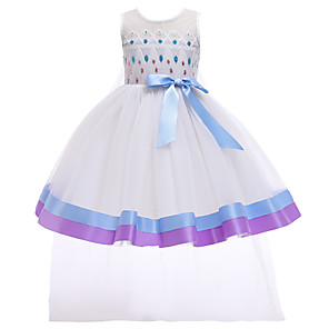 cheap Movie & TV Theme Costumes-Elsa Dress Cosplay Costume Girls' Movie Cosplay Halloween Blue Dress Christmas Halloween Carnival Polyester / Cotton