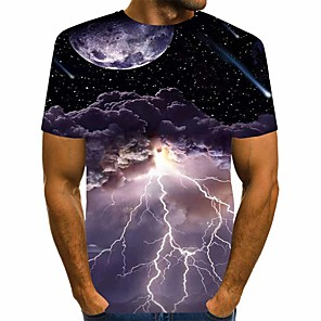 cheap Softshell, Fleece & Hiking Jackets-Men's Daily T-shirt Graphic Print Short Sleeve Tops Streetwear Round Neck Black