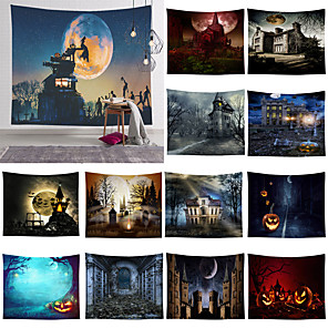 cheap Abstract Paintings-Halloween Wall Tapestry Art Decor Blanket Curtain Picnic Tablecloth Hanging Home Bedroom Living Room Dorm Decoration Psychedelic Skull Skeleton Pumpkin Bat Witch Haunted Scary Castle Polyester 13 Kind