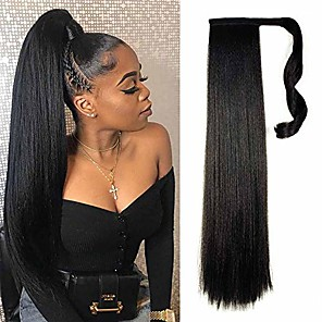 cheap Costume Wigs-natural black yaki straight long clip in ponytail hair extensions kanekalon wrap around synthetic fake pony tail hairpieces heat resistant fiber wave ponytail extensions for women 120g 26inch