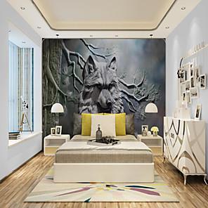 baratos Papel de Parede-um papel de parede personalizado autoadesivo mural arte lobo adequado para quarto sala de estar café restaurante hotel decoração de parede arte pano de parede quarto revestimento de parede