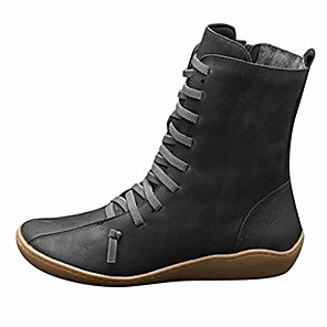 cheap Women's Boots-Women's Boots Flat Heel Casual Daily Winter Wine / Black / Gray