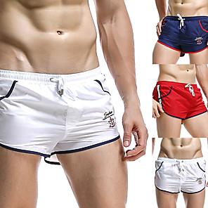 cheap Running & Jogging Clothing-SEOBEAN® Men's Running Shorts Sports & Outdoor Shorts Underwear Shorts Briefs Stripe Drawstring Nylon Fitness Running Jogging Breathable Quick Dry Soft Sport White Red Dark Blue / Stretchy / Athletic