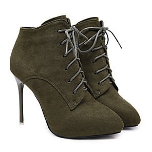 cheap Women's Boots-Women's Boots Stiletto Heel Pointed Toe Basic Daily Solid Colored Nubuck Booties / Ankle Boots Black / Army Green