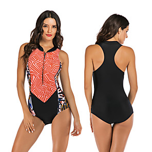 cheap Wetsuits, Diving Suits & Rash Guard Shirts-Women's One Piece Swimsuit Elastane Swimwear Breathable Quick Dry Sleeveless Front Zip - Swimming Surfing Water Sports Patchwork Summer / Stretchy