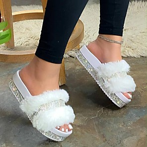 cheap Women's Sandals-Women's Slippers & Flip-Flops Flat Heel Open Toe Casual Daily Rhinestone Solid Colored PU White / Black / Pink