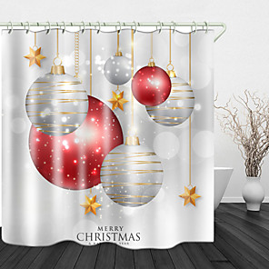 cheap Shower Curtains-Christmas Lights On White Print Waterproof Fabric Shower Curtain For Bathroom Home Decor Covered Bathtub Curtains Liner Includes With Hooks