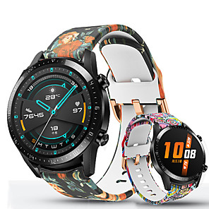 tanie Opaski Smartwatch-Drukowanie silikonowego paska do zegarka huawei gt 2e / honor magic watch 2 46mm 42mm / gt2 46mm 42mm / gt active / watch 2 pro / watch 2 wymienna bransoletka sportowa pasek na nadgarstek