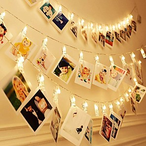 cheap LED String Lights-LED Photo Clip Copper String Lights 3M 9.8ft 20LEDs Starry Fairy for Hanging Pictures Cards Bedroom Wall Decorations Home Décor