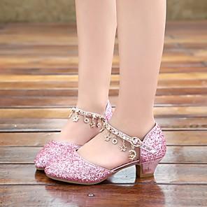 cheap Latin Dancewear-Girls' Sandals Flower Girl Shoes PU Sequins Little Kids(4-7ys) Walking Shoes Crystal Pink / Silver Summer