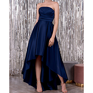 cheap LED Strip Lights-A-Line Elegant Minimalist Wedding Guest Formal Evening Dress Strapless Sleeveless Asymmetrical Satin with Ruched 2020