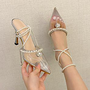 cheap Women's Sandals-Women's Sandals Stiletto Heel Pointed Toe Sweet Daily Rhinestone Pearl Solid Colored PU Silver