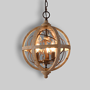 cheap Pendant Lights-3-Light 30 cm Candle Style Tree Chandelier Wood / Bamboo Candle-style Globe Drum Wood Vintage Traditional / Classic 110-120V 220-240V