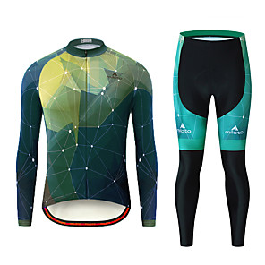 cheap Cycling Jerseys-Miloto Men's Long Sleeve Cycling Jersey with Tights Black / Green Bike Clothing Suit Breathable Ultraviolet Resistant Sports Patterned Mountain Bike MTB Road Bike Cycling Clothing Apparel / Stretchy