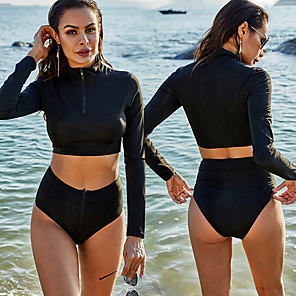 cheap Women's Wetsuits-Women's Rashguard Swimsuit Spandex Swimwear UV Sun Protection Quick Dry Stretchy Long Sleeve Front Zip - Swimming Surfing Snorkeling Solid Colored Summer