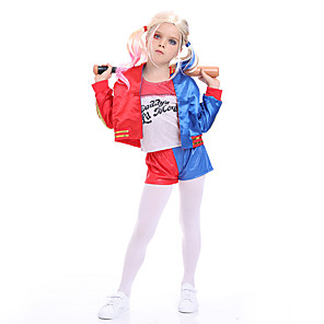 cheap Movie & TV Theme Costumes-Harley Quinn Cosplay Costume Outfits Girls' Movie Cosplay Active Blue Coat Pants T-shirt Halloween Children's Day Masquerade Polyester