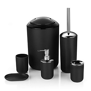 cheap Bathroom Gadgets-6pcs/set Printing Bathroom Accessory Set Lotion Dispenser Toothbrush Holder Tumbler Cup Soap Dish Toilet Brush Trash Can