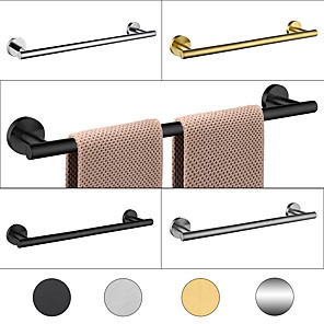 cheap Towel Bars-1 Pc Bathroom Hardware Bathroom Towel Bar Kitchen Dish Cloths Hanger Stainless Steel Low Carbon Steel Metal Wall Mounted