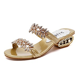 cheap Women's Sandals-Women's Sandals Cuban Heel Open Toe Casual Basic Daily Rhinestone Flower Solid Colored Faux Leather Walking Shoes Black / Gold / Silver