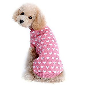 cheap LED Bi-pin Lights-pet dog sweater coats love heart pet dog sweater cute puppy pullover sweater knitwear tops doggy clothes pink