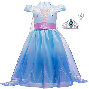 cheap Movie & TV Theme Costumes-Frozen Dress Cosplay Costume Girls' Movie Cosplay Halloween Blue Dress Wand Halloween New Year Polyester / Cotton Polyester